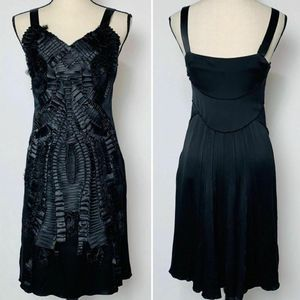 Alberta Ferretti Black Silk Pleated Ribbon Dress